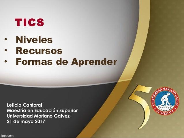 TICS Leticia Cantoral Maestría en Educación Superior Universidad Mariano Galvez 21 de mayo 2017 • Niveles • Recursos • For...