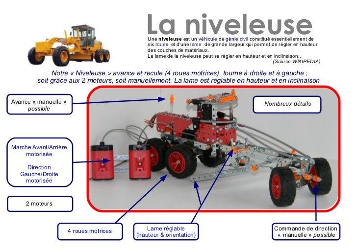La niveleuse                                              Une niveleuse est un véhicule de génie civil constitué essentiel...