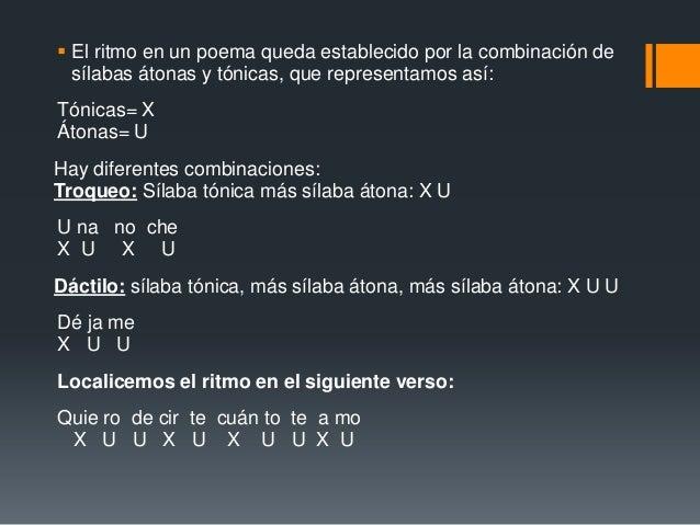  El ritmo en un poema queda establecido por la combinación de  sílabas átonas y tónicas, que representamos así:Tónicas= X...