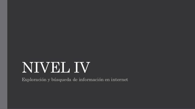 NIVEL IV  Exploración y búsqueda de información en internet