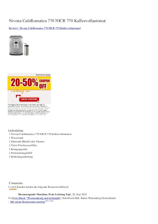 Nivona CafeRomatica 770 NICR 770 KaffeevollautomatReview!- Nivona CafeRomatica 770 NICR 770 Kaffeevollautomat]Lieferumfang...