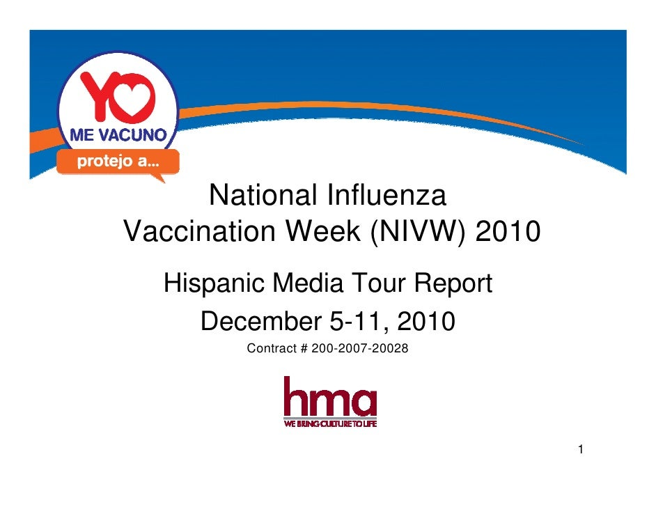National InfluenzaVaccination Week (NIVW) 2010  Hispanic Media Tour Report     December 5-11, 2010        Contract # 200-2...