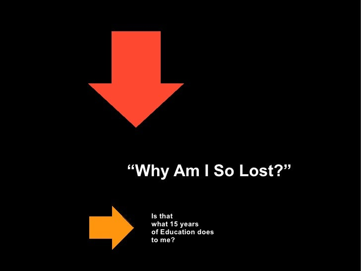 """"""" Why Am I So Lost?"""" Is that  what 15 years  of Education does  to me?"""