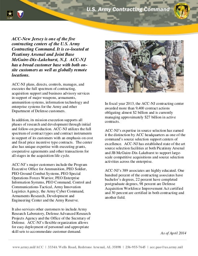 ACC-New Jersey is one of the five contracting centers of the U.S. Army Contracting Command. It is co-located at Picatinny ...