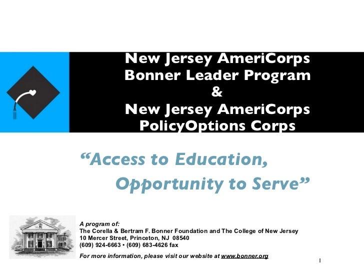 New Jersey AmeriCorps               Bonner Leader Program                         &               New Jersey AmeriCorps   ...