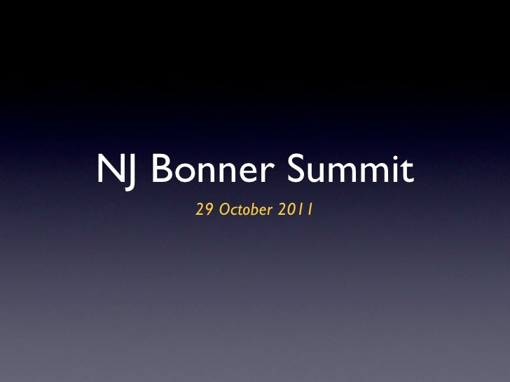 NJ Bonner Summit     29 October 2011