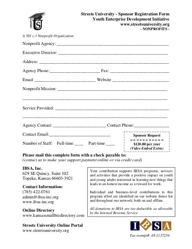 streets university nonprofit donor form