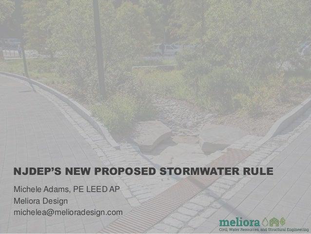 NJDEP'S NEW PROPOSED STORMWATER RULE Michele Adams, PE LEED AP Meliora Design michelea@melioradesign.com