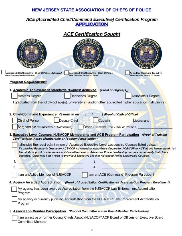 Njsacop Ace Certification Program Application