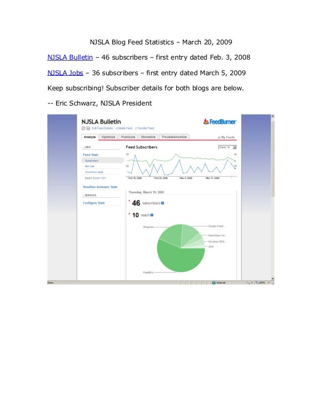 NJSLA Blog Feed Statistics – March 20, 2009 NJSLA Bulletin – 46 subscribers – first entry dated Feb. 3, 2008 NJSLA Jobs – ...