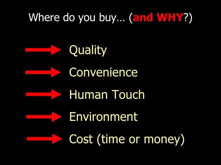 Where do you buy… ( and   WHY ?) <ul><ul><li>Quality </li></ul></ul><ul><ul><li>Convenience </li></ul></ul><ul><ul><li>Hum...