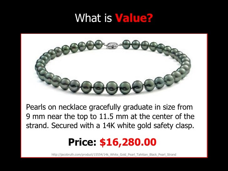What is  Value? http://jacobruth.com/product/15554/14k_White_Gold_Pearl_Tahitian_Black_Pearl_Strand Pearls on necklace gra...