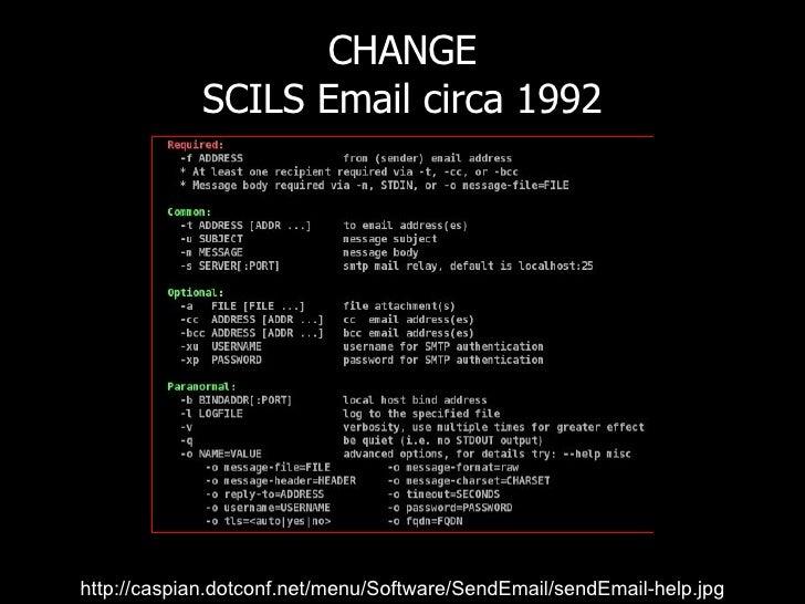 CHANGE SCILS Email circa 1992 http://www.flickr.com/photos/radiorover/2787677403/ http://caspian.dotconf.net/menu/Software...