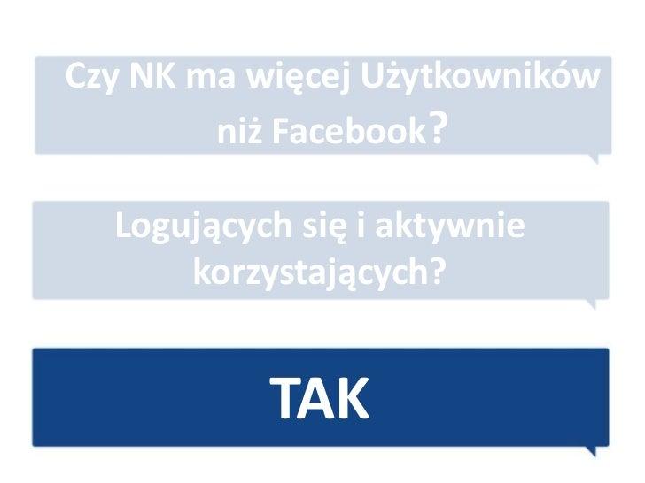 Czy NK ma więcej Użytkowników        niż Facebook?  Logujących się i aktywnie      korzystających?           TAK