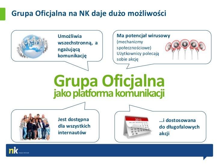 Grupa Oficjalna na NK daje dużo możliwości            Umożliwia          Ma potencjał wirusowy            wszechstronną, a...