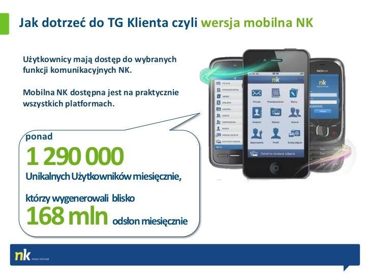 Jak dotrzed do TG Klienta czyli wersja mobilna NKUżytkownicy mają dostęp do wybranychfunkcji komunikacyjnych NK.Mobilna NK...