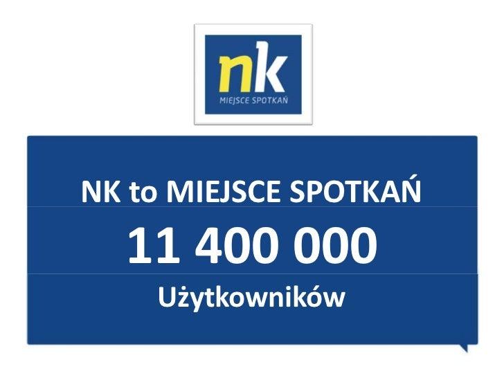 NK to MIEJSCE SPOTKAO  11 400 000    Użytkowników