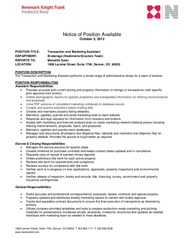 Notice of Position Available                                                    October 3, 2012POSITION TITLE:           T...