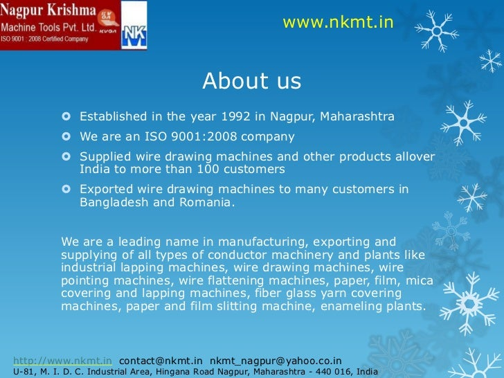 Nagpur Krishma Machine Tools Pvt Ltd - Wire Drawing Machine Manufactu…