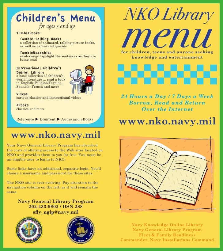 NKO Library                                                           menu     Children's Menu                   for ages ...