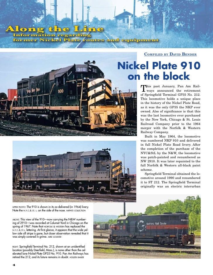 Along the Line  Information regarding  former Nickel Plate routes and equipment                                           ...