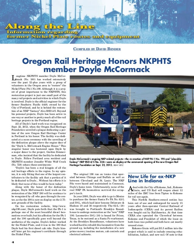 Along the LineInformation regardingformer Nickel Plate routes and equipment                                               ...