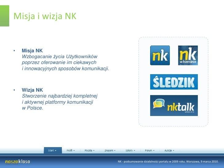 Misja i wizja NK<br />Misja NKWzbogacanie życia Użytkowników poprzez oferowanie im ciekawych i innowacyjnych sposobów komu...