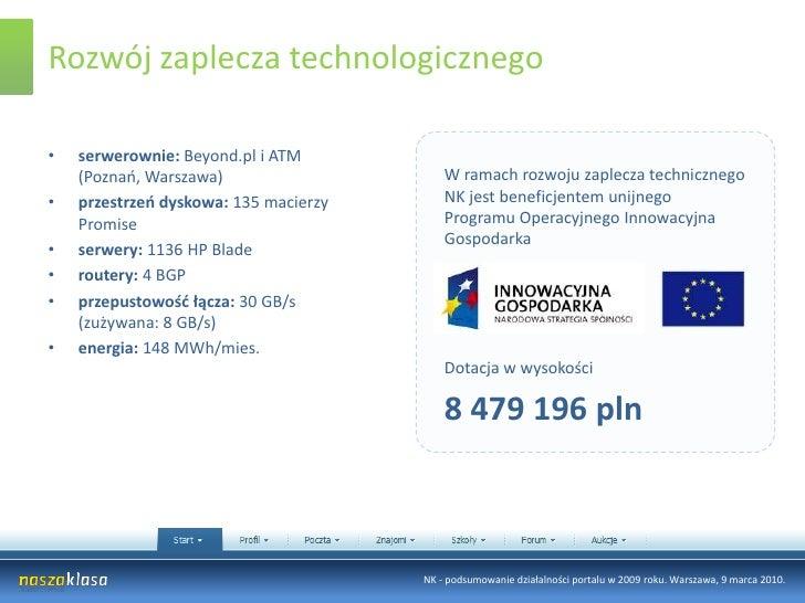 Rozwój zaplecza technologicznego<br />serwerownie: Beyond.pl i ATM (Poznań, Warszawa)<br />przestrzeń dyskowa: 135 macierz...