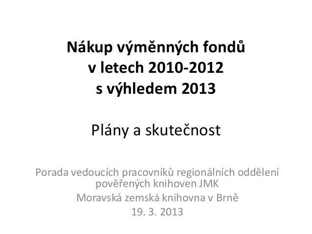 Nákup výměnných fondů        v letech 2010-2012         s výhledem 2013           Plány a skutečnostPorada vedoucích praco...