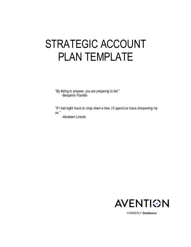 Strategic Account Management Plan Template Strategic Account Plan  Account Plan Templates