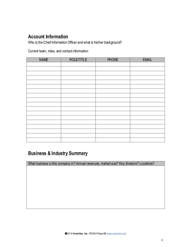 account planning templates