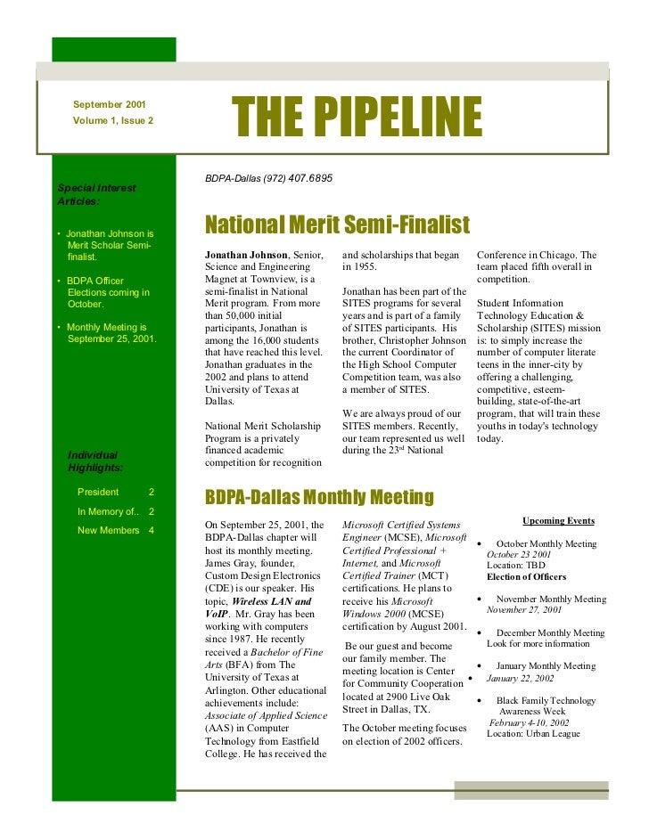THE PIPELINE   September 2001   Volume 1, Issue 2                         BDPA-Dallas (972) 407.6895Special InterestArticl...