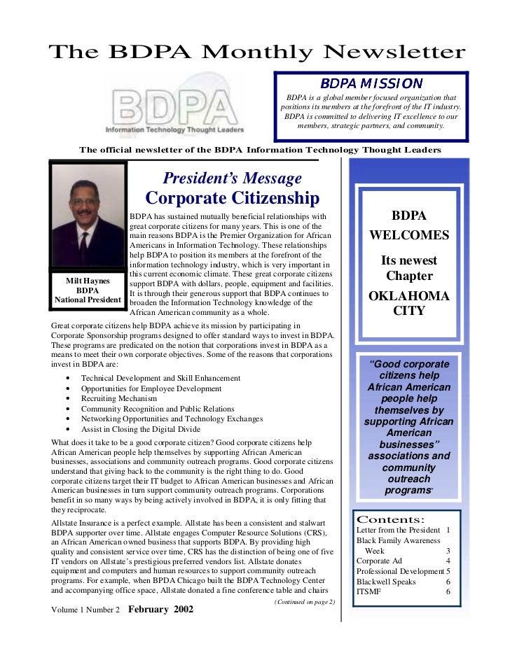 The BDPA Monthly Newsletter                                                                                   BDPA MISSION...