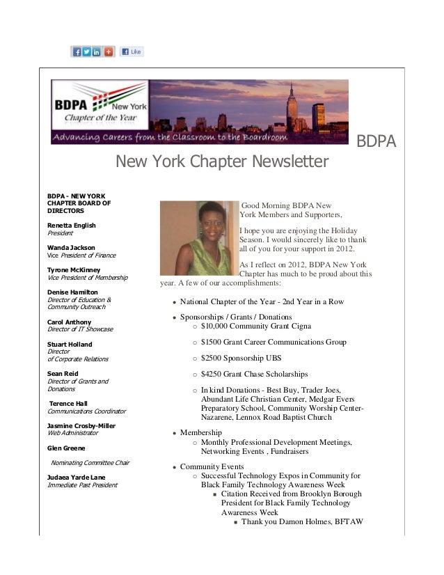 BDPA                            New York Chapter NewsletterBDPA - NEW YORKCHAPTER BOARD OF                                ...