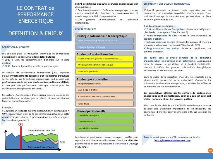 Le CPE se distingue des autres services énergétiques par     LES PRESTATIONS D'AUDIT PATRIMONIAL              LE CONTRAT d...
