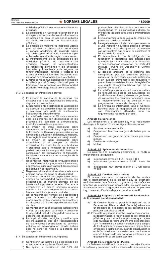 Ley General de la Persona con Discapacidad publicada en El Peruano