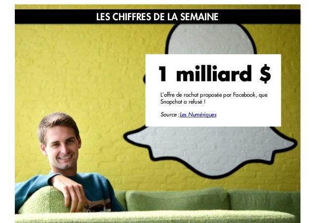 LES CHIFFRES DE LA SEMAINE  1 milliard $ L'offre de rachat proposée par Facebook, que Snapchat a refusé ! Source :Les Numé...