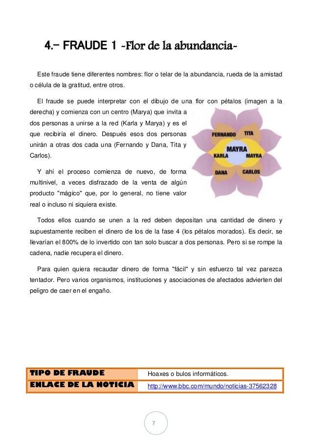 7 4.- FRAUDE 1 -Flor de la abundancia- Este fraude tiene diferentes nombres: flor o telar de la abundancia, rueda de la am...