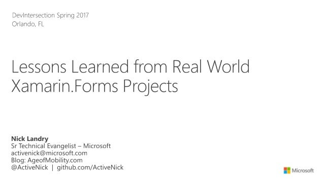 Lessons Learned from Real World Xamarin Forms Projects