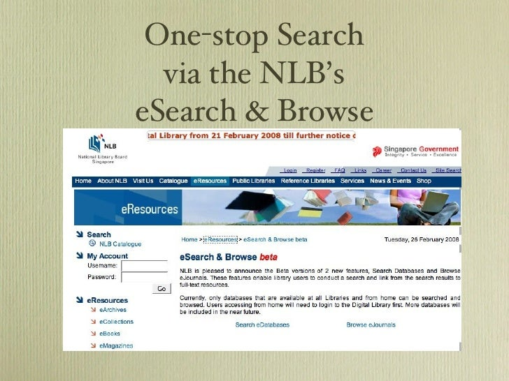 One-stop Search via the NLB's eSearch & Browse