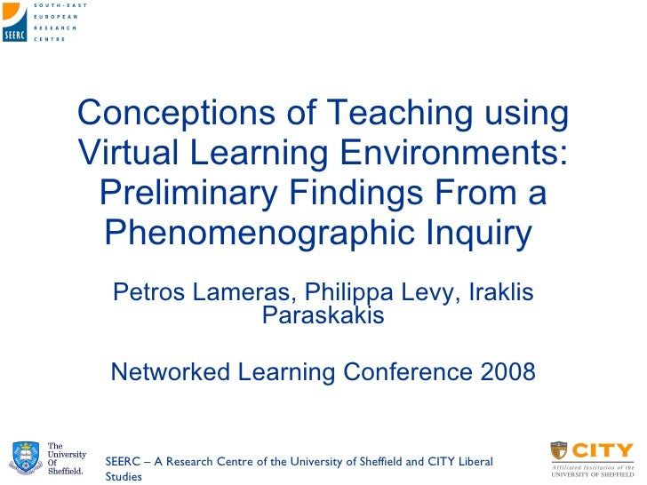 Conceptions of Teaching using Virtual Learning Environments: Preliminary Findings From a Phenomenographic Inquiry  Petros ...