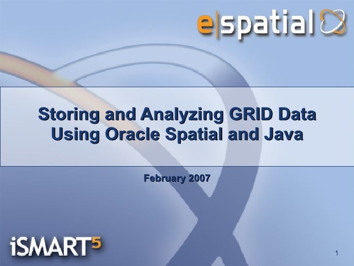 Storing and Analyzing GRID Data Using Oracle Spatial and Java February 2007