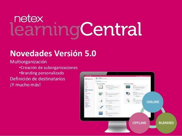 Novedades Versión 5.0 Multiorganización •Creación de suborganizaciones •Branding personalizado Definición de destinatarios...
