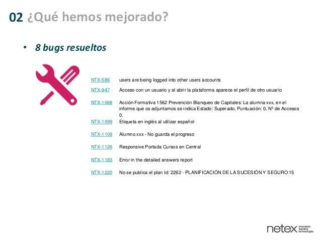 • 8 bugs resueltos NTX-586 users are being logged into other users accounts NTX-947 Acceso con un usuario y al abrir la pl...