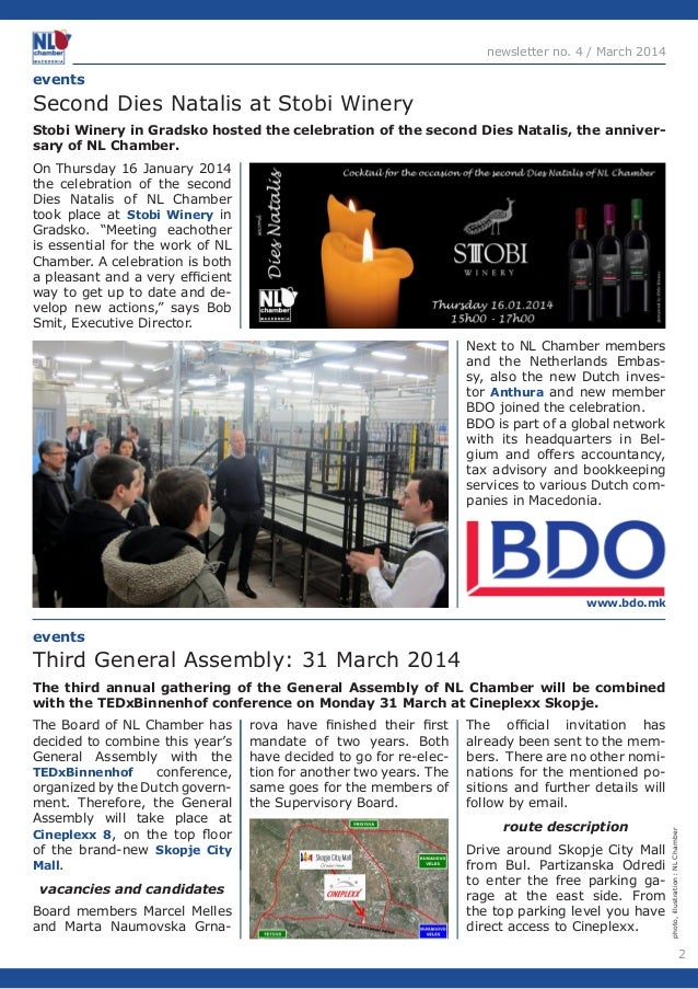2  newsletter no. 4 / March 2014  On Thursday 16 January 2014  the celebration of the second  Dies Natalis of NL Chamber  ...