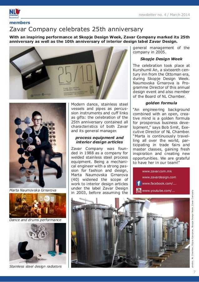 7  newsletter no. 4 / March 2014  Modern dance, stainless steel  vessels and pipes as percus-sion  instruments and cuff li...