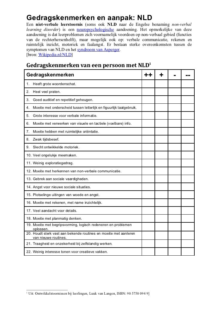 NLD - Gedragskenmerken en aanpak