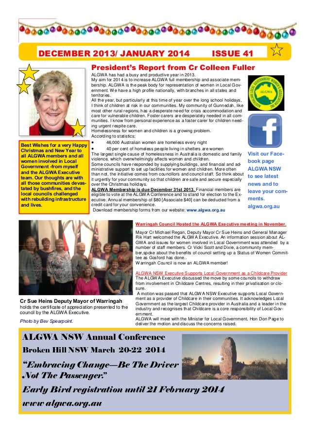 DECEMBER 2013/ JANUARY 2014  ISSUE 41  President s Report from Cr Colleen Fuller  Best Wishes for a very Happy Christmas a...