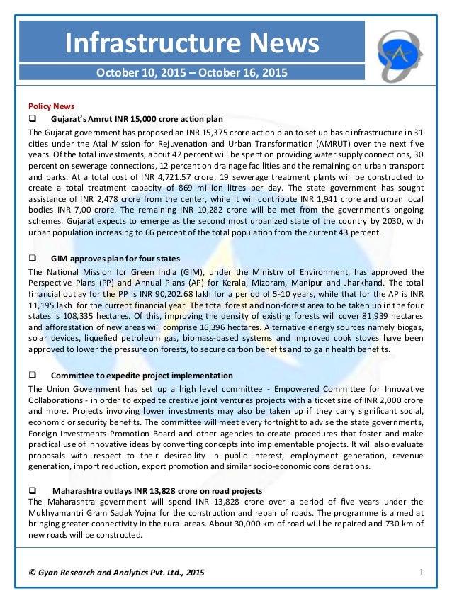 © Gyan Research and Analytics Pvt. Ltd., 2015 1 Policy News  Gujarat's Amrut INR 15,000 crore action plan The Gujarat gov...