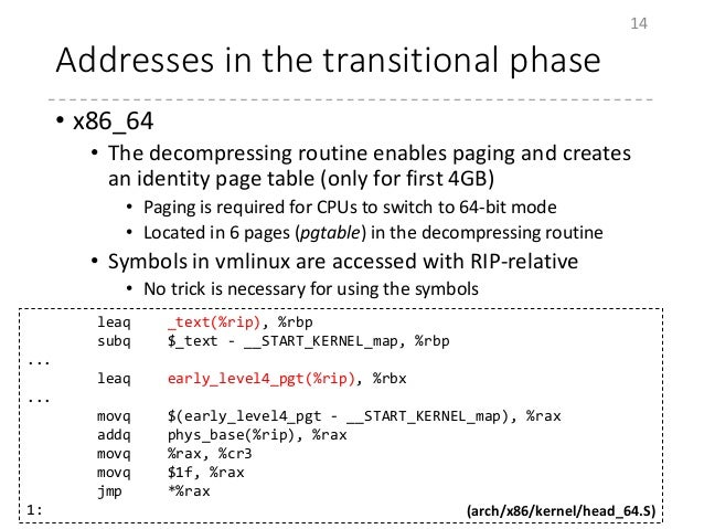 Addresses in the transitional phase • x86_64 • The decompressing routine enables paging and creates an identity page table...